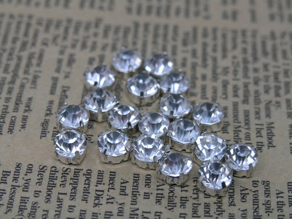 100pcs Loose Crystal Sew on Rhinestone Clear Stones in Silver Prong, SS40/8.0mm