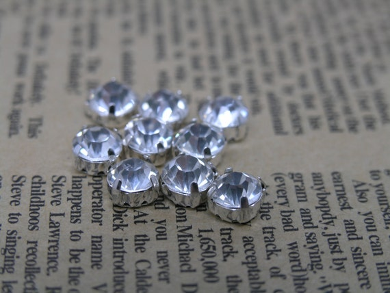 100pcs Loose Crystal Sew on Rhinestone Clear Stones in Silver Prong, SS30/6.0mm