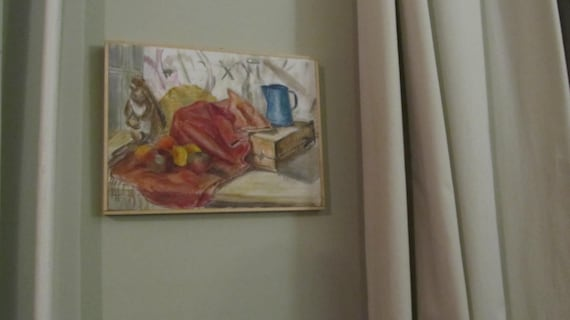 Oil Painting Still Life with Squirrel with basic wood frame