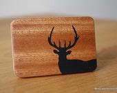 Bull deer black epoxy inlay mahogany belt buckle