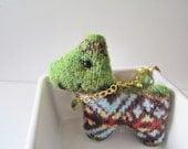 Cute Scottie Dog Phone Charm, Green and Beads