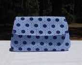SALE- Simple clutch purse, blue, geometric hexagon pattern
