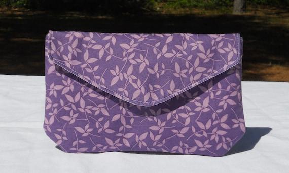Purple envelope clutch