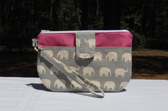 Clutch wristlet with front pocket and detachable strap, gray, pink, elephants