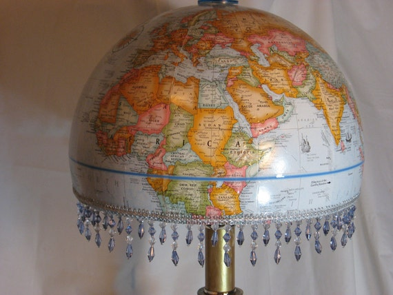 Vintage World Globe Lampshade.  Makes an instant statement in your living room, library, student or child's room, or travel theme etc