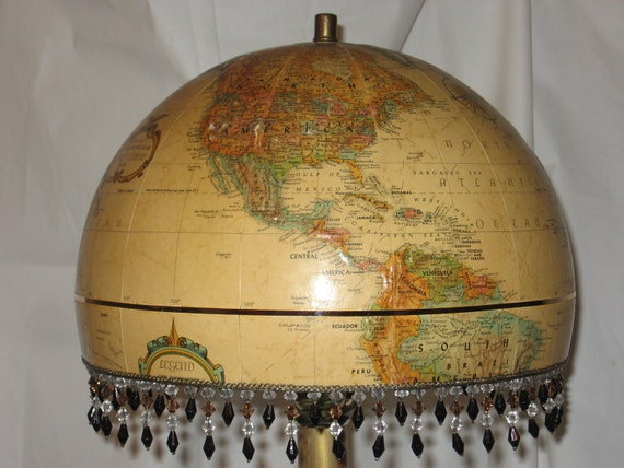 World Globe Lampshade,elegant, hand-crafted, vintage, (lamp NOT included) perfect for a living room, library, child's room, or travel theme