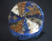 Vintage Sapphire Blue Pill Box Hat Feathers Netting Veil