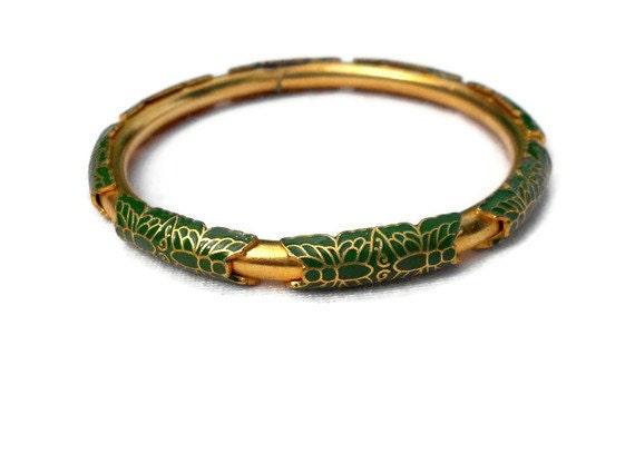 Vintage Golden 1980's Cloisonne Bangle with Green Butterflies