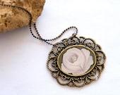 MaayanART - Hand Painted Necklace Pendant, Original Oil Painting -pink  rose