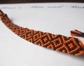 Braided Friendship Bracelet - Halloween Black and Orange Diamonds