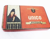 Free shipping -Vintage tin cigar box with Spanish style lady with fan painted in red black and white color in good shape brand Unico Piccolo
