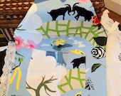 Blue & White Scandinavian Mountain Pattern Children's or Adult Short Hand Crafted Apron