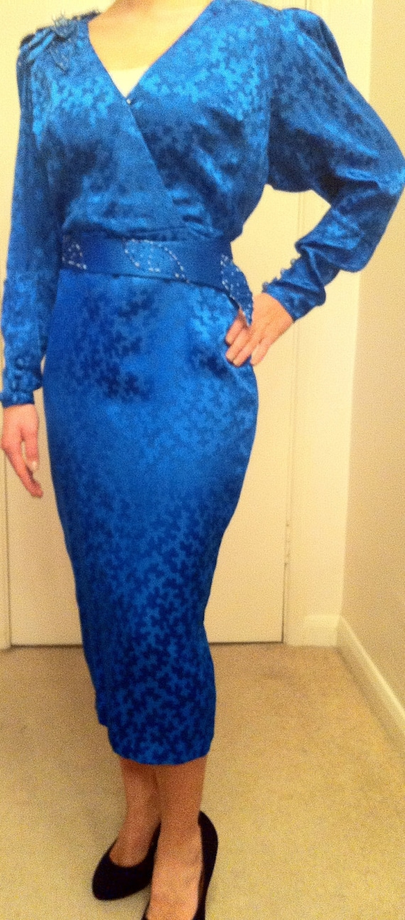 Vintage Royal Blue Sequin Silk Dress with Fish Tail Skirt and Sequin Shoulder Flower and Belt size 10-12