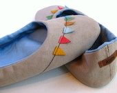 Handmade Oatmeal Cotton Canvas Home Shoes with Leather Bunting Banner Flags