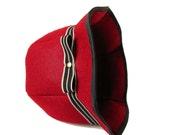 Vegan Winter Autumn Fall Eco Felt Cloche Hat in Dark Red with Grey-Black Stripe Grosgrain Ribbon Trim