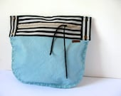 Crossbody,Shoulder Bag or Clutch Purse in Aqua Leather with Detachable Strap, Black&White Stripes Accent,OOAK