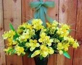 Spring Wreath-Summer Wreath-YELLOW DAFFODIL Woodland Floral Door Wreath-Summer Door Wreath-Front Door Wreath-Floral Decor-Summer Home Decor
