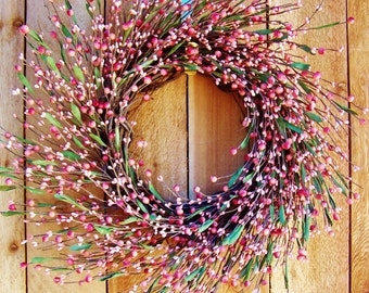 Easter Wreath-Easter Home Decor-Spring Wreath-Summer Wreath-PASTEL PINK Floral Berry Door Wreath-Front Door Wreath-Rustic Primitives Country