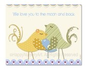 Boys nursery art Love you to the moon and back quote children room decor cute birds, yellow green light blue nursery art