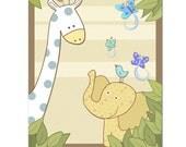 Baby boy nursery art decor giraffe elephant eli butterflies illustrations green room wall hanging kids room decor