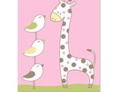 Giraffe birds nursery wall art print , pink nursery pictures, kids cute wall art, girls baby shower gift