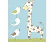 Happy giraffe baby room nursery wall art , toddlers art , boy nursery art cute birds children wall hanging