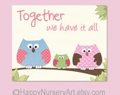 Art for Nursery. Baby girls nursery art, children room decor, owl baby art, quote, family love text