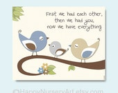 Children room wall art, birds, nursery decoration, blue, cream, brown, white, quote, first we had..