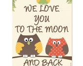 Love you to the moon and back wall art print, baby room decor, nursery wall art, children art, kids wall art