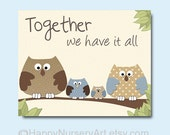 Baby boy nursery, nursery decor, owls family nursery art, love quote art, children art prints