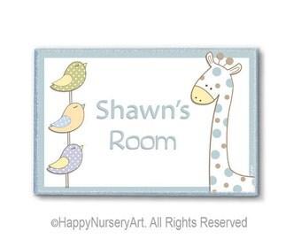 Little boys personalized room door sign plaque giraffe and birds, nursery door plaque, name sign