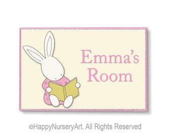 Personalized girls nursery door sign bunny rabbit reading books illustration print