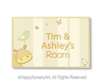 Nursery door sign, baby room personalized sign