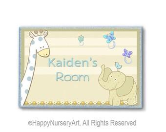 Elephant nursery wood door sign personalized plaque giraffe jungle animals nursery art boy Personalized door sign, kids door signs