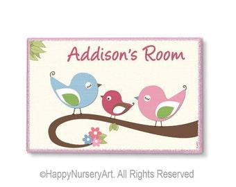Baby girl birds room sign, nursery door sign, pink, blue, green, personalized door hanger, kids room art