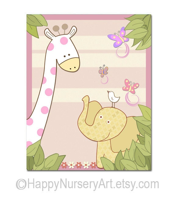 Nursery Art For Children Kids Wall Art Baby Girl Nursery Baby: Items Similar To Elephant Giraffe Nursery Art Print