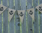 Reserve for kashaglover- Burlap Banner- Nautical Anchors