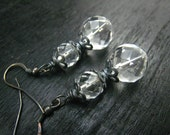 nature rock crystal,oxidized sterling earrings