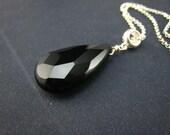 Black onyx briolette pendant