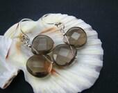 Smoky Quartz Earrings--Sterling Silver