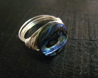 Abalone Handmade Ring in sterling silver--7.25