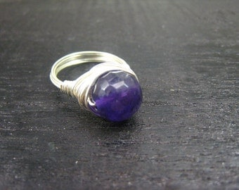 nature Amethyst sterling silver Ring
