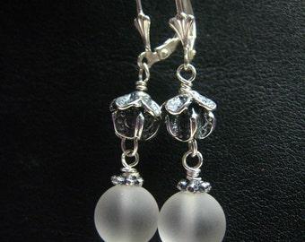 Dangle Matt Rock Crystal, Bali Bead Sterling Silver Earrings