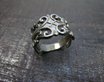 filigree ring,oxidized sterling silver-5
