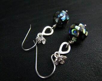 abalone ball dangle earrings