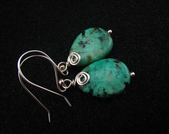 African turquoise,teardrop earrings