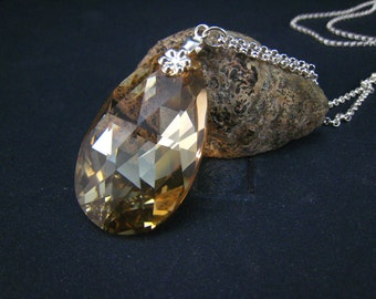 Big Swarovski Crystal Teardrop Pendant
