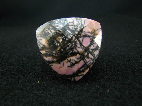 Black Line  Rhodonite Heart Shape Ring-9