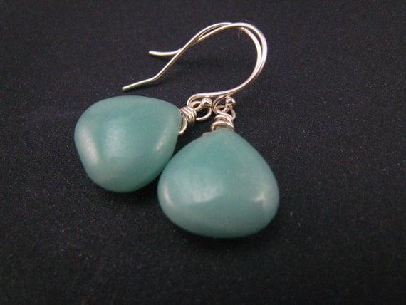 Amazonite briolette earrings,sterling silver