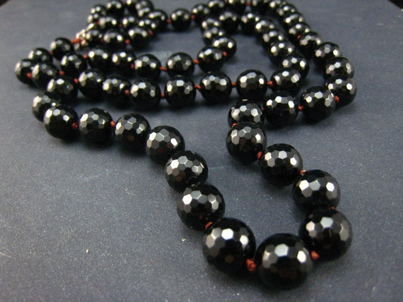 reserved--Black Onyx Prayer Beads,oxidized the clasp